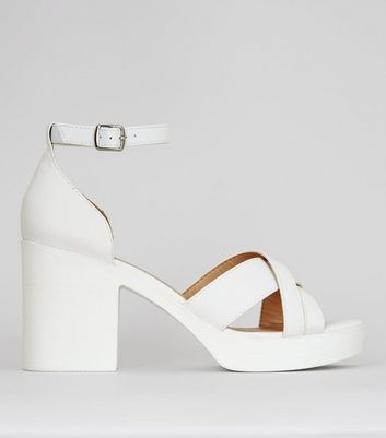 White Platform Cross Strap Heels