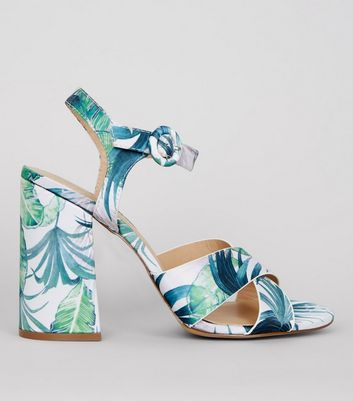 Green Floral Printed Heeled Sandals