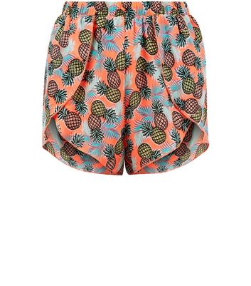 Teens Orange Pineapple Print Beach Shorts