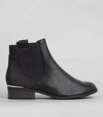 Black Elasticated Sides Metal Trim Boots