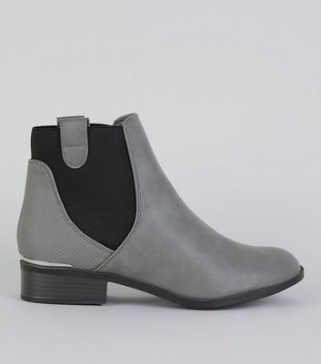 Grey Elasticated Sides Metal Trim Boots