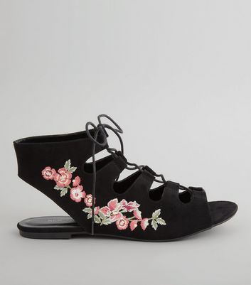 Black Suedette Floral Embroidered Ghillie Shoes