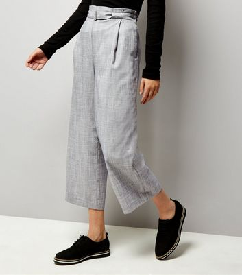 Pale Blue D Ring Belted Cropped Trousers