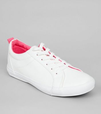 White Contrast Lining Lace Up Trainers