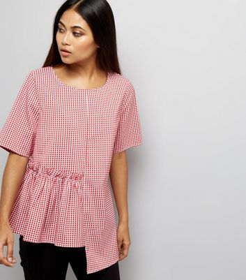 Petite Red Gingham Spliced Peplum Hem Top