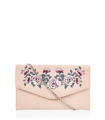 Pink Floral Embroidered Clutch