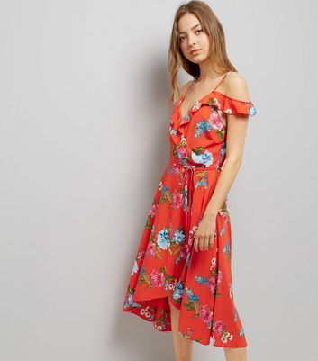 Red Floral Print Frill Trim Wrap Front Midi Dress