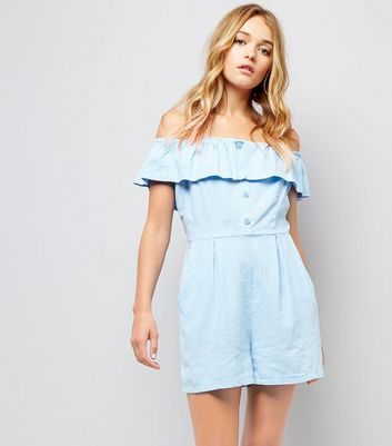 Pale Blue Button Front Bardot Neck Playsuit