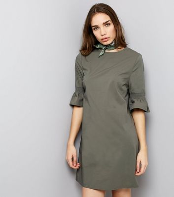 Khaki Bell Sleeve Tunic Dress