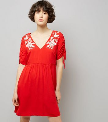 Red Floral Embroidered Smock Dress