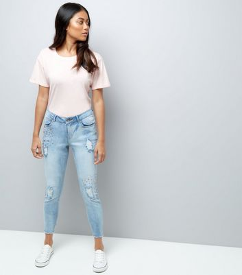 Petite Blue Gem Detail Ripped Skinny Jeans