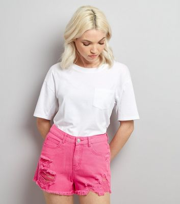 Petite Pink Ripped High Waist Denim Shorts