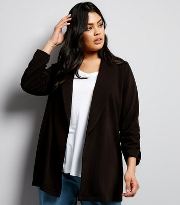 Curves Black Crepe Ruched Sleeve Blazer