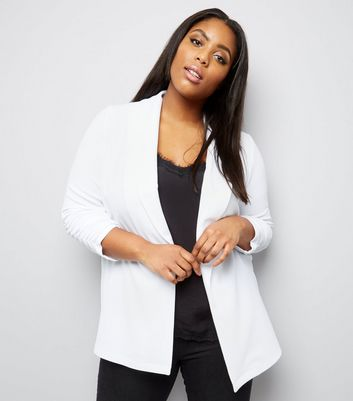 Curves White Crepe Ruched Sleeve Blazer