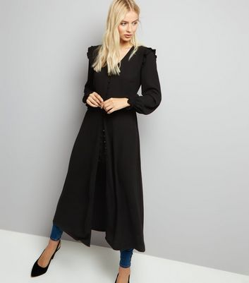 Black Button Front Long Sleeve Midi Dress