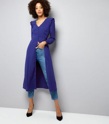 Blue Button Front Long Sleeve Midi Dress