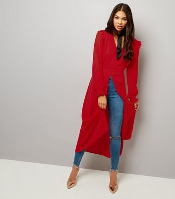 Red Button Front Long Sleeve Midi Dress