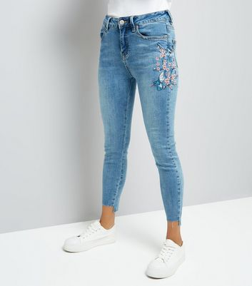 Petite Blue Bird Embroidered Skinny Jeans
