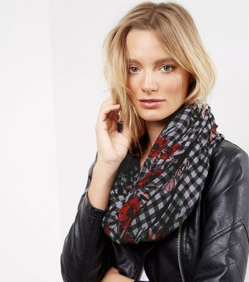 Black Gingham and Floral Print Snood