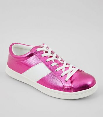Pink Metallic Lace Up Trainers
