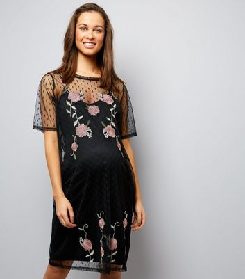 Maternity Black Spot Mesh Embroidered Dress