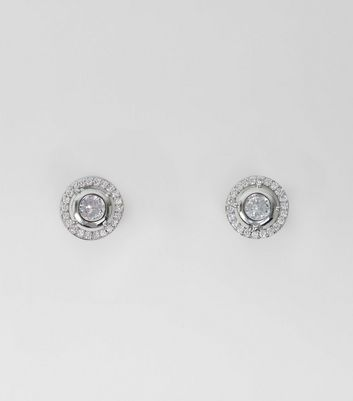 Silver Diamante Round Cut Out Studs