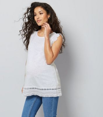 Maternity White Frill Sleeve Broderie Hem Top