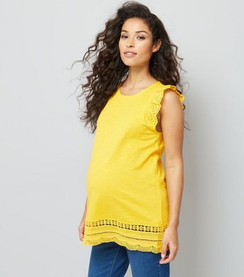 Maternity Yellow Frill Sleeve Broderie Hem Top
