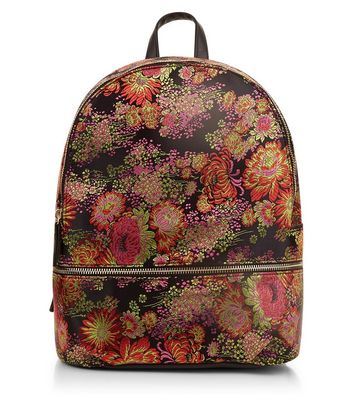 Black Floral Jaquard Backpack