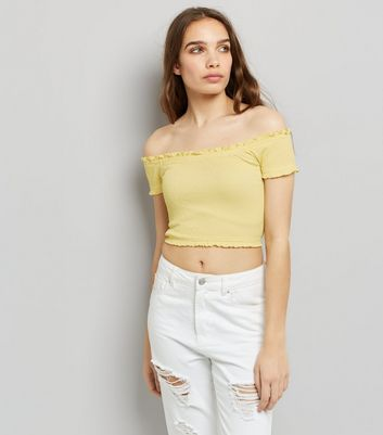 Yellow Short Sleeve Frill Trim Bardot Neck Top