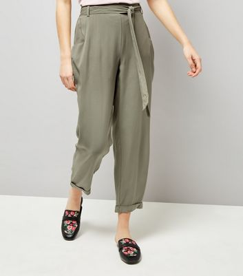 Khaki Turn Up Hem Tie Waist Joggers