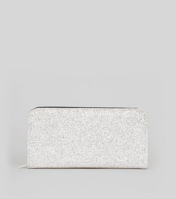 Silver Glitter Zip Around Purse