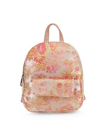 Pink Floral Jaquard Mini Backpack