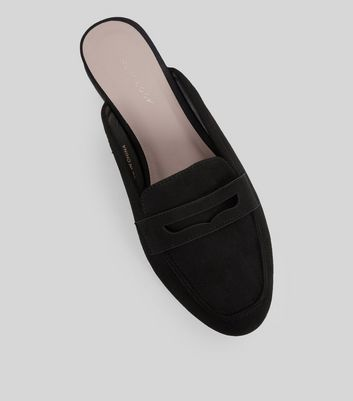 Black Suedette Mule Loafers