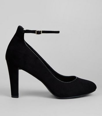 Black Comfort Suedette Ankle Strap Court Shoes