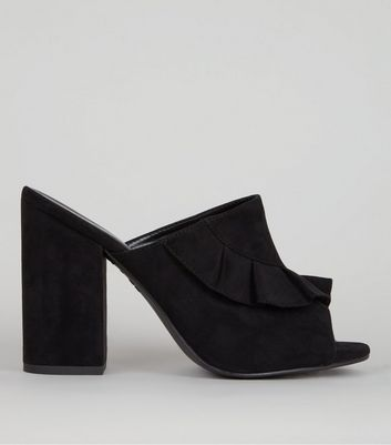 Black Suedette Frill Trim Heeled Mules