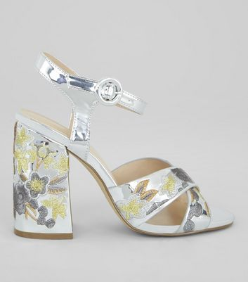 Silver Patent Floral Embroidered Heeled Sandals