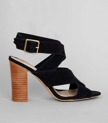 Black Comfort Suede Contrast Block Heeled Sandals