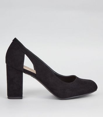 Wide Fit Black Comfort Cut Out Side Block Heels