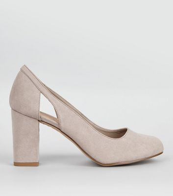 Wide Fit Grey Comfort Cut Out Side Block Heels