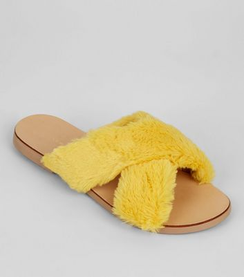 Wide Fit Yellow Faux Fur Cross Front Sliders