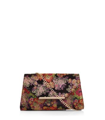 Black Floral Jaquard Clutch