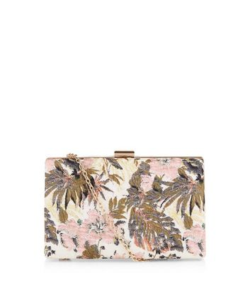 Nude Pink Floral Jacquard Box Clutch