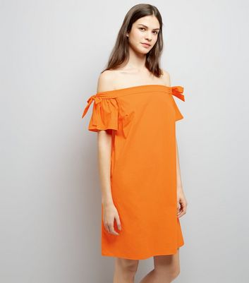Bright Orange Tie Sleeve Bardot Neck Dress