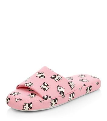 Pink Pug Print Slider Slippers