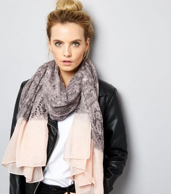Grey Lace Print Contrast Trim Long Scarf