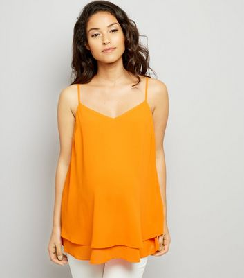 Maternity Orange Cross Back Cami