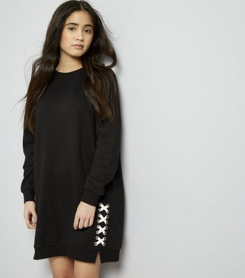 Teens Black Eyelet Lace Up Sweater Dress