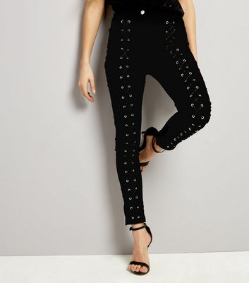Parisian Black Lattice Front Skinny Jeans