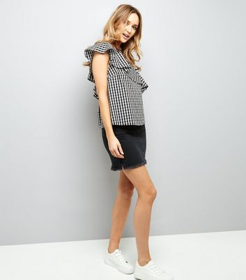 Black Gingham Frill Trim Off the Shoulder Top